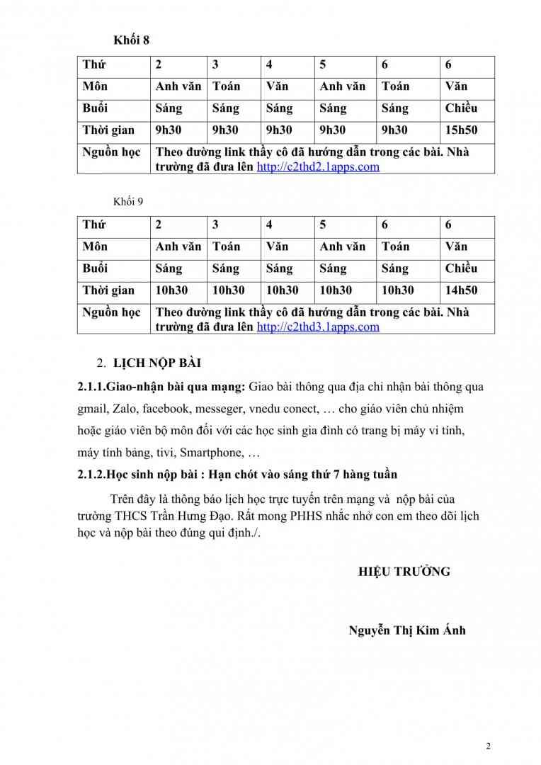 thông báo lịch học -2